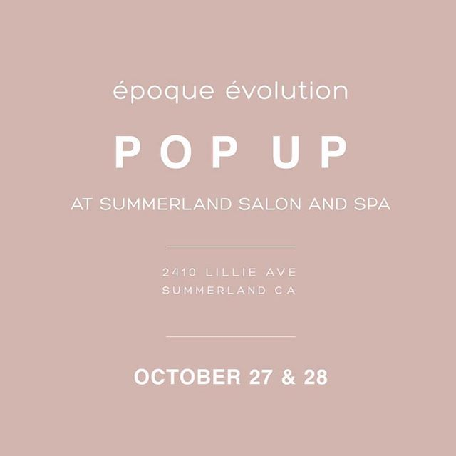 SAVE THE DATE! @epoqueevolution Pop-Up at  Summerland Salon & Spa . Saturday Oct 27 11am-4pm . Come shop the latest collection of eco-chic functional fashion by ground breaking women-owned start up, epoque evolution at Summerland Salon & Salon. Enjoy wine, refreshments & 20% off salon and spa products. . . Sunday Oct 28 4-5pm Hosted by @epoqueevolution @nourishbynatalie @summerlandsalonandspa Join is for a discussion of the important of sustainability and wellness in our lives today. We will be covering sustainability in the fashion industry, the evolution of clean beauty, and the important connection of mindfulness with nutrition.