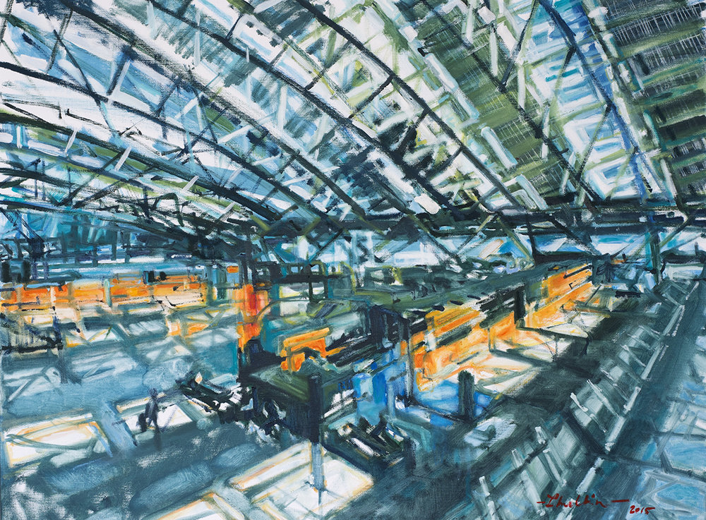 Hamburg Airbport - 2.Terminal, oil on canvas, 70x80cm, 2015