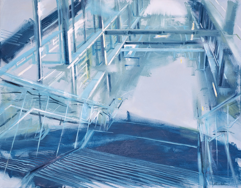 Staircase, oil on canvas, 95cm x 115cm (37''x45'')
