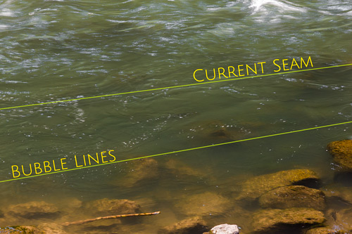 Figure 2. Current structure defined between current seams and foam lines or bubble zone.