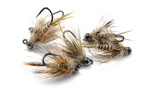 With a body and collar of hares ear dubbing, this tan colored jig fly is tied in the round and highly suggestive of many trout menu items.
