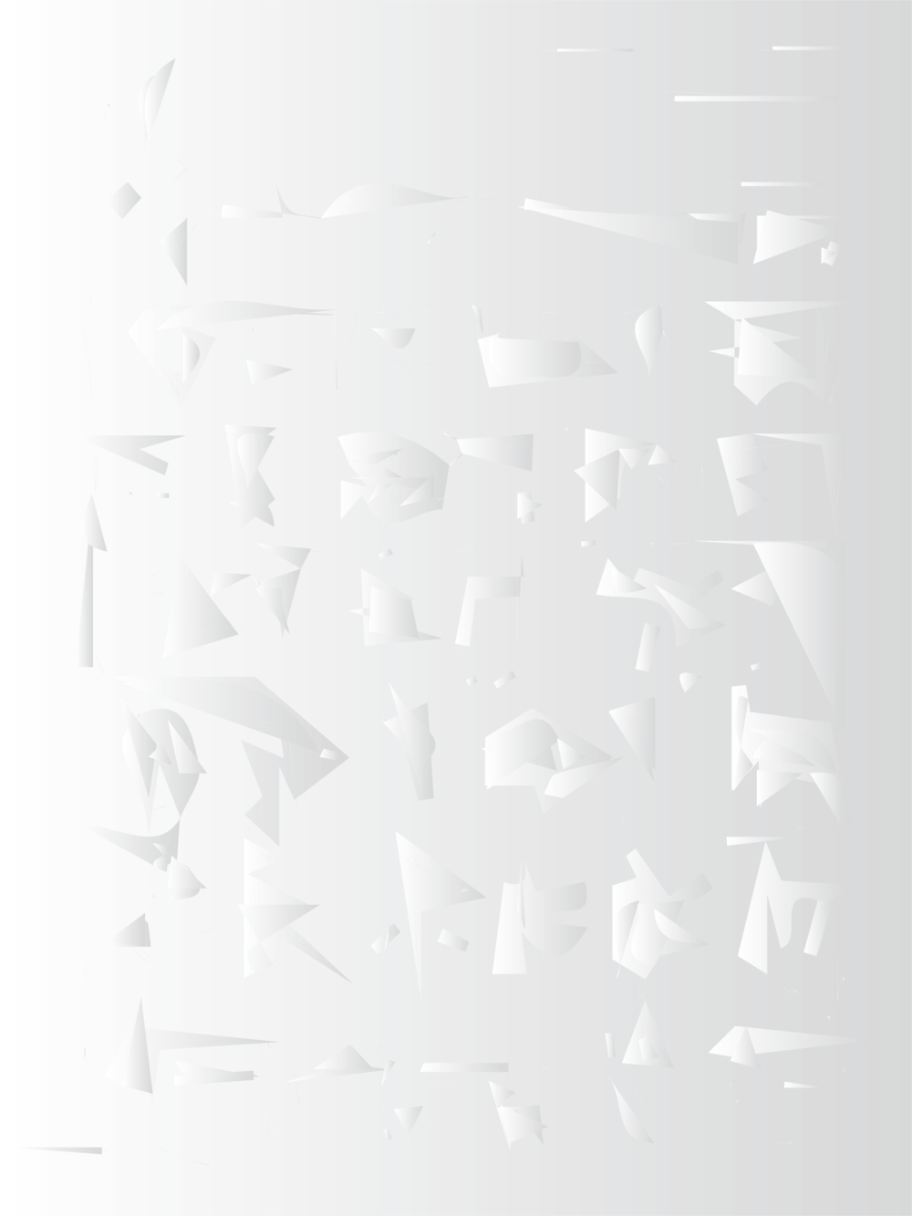 side, above: digital abstractions of generated cuneiform