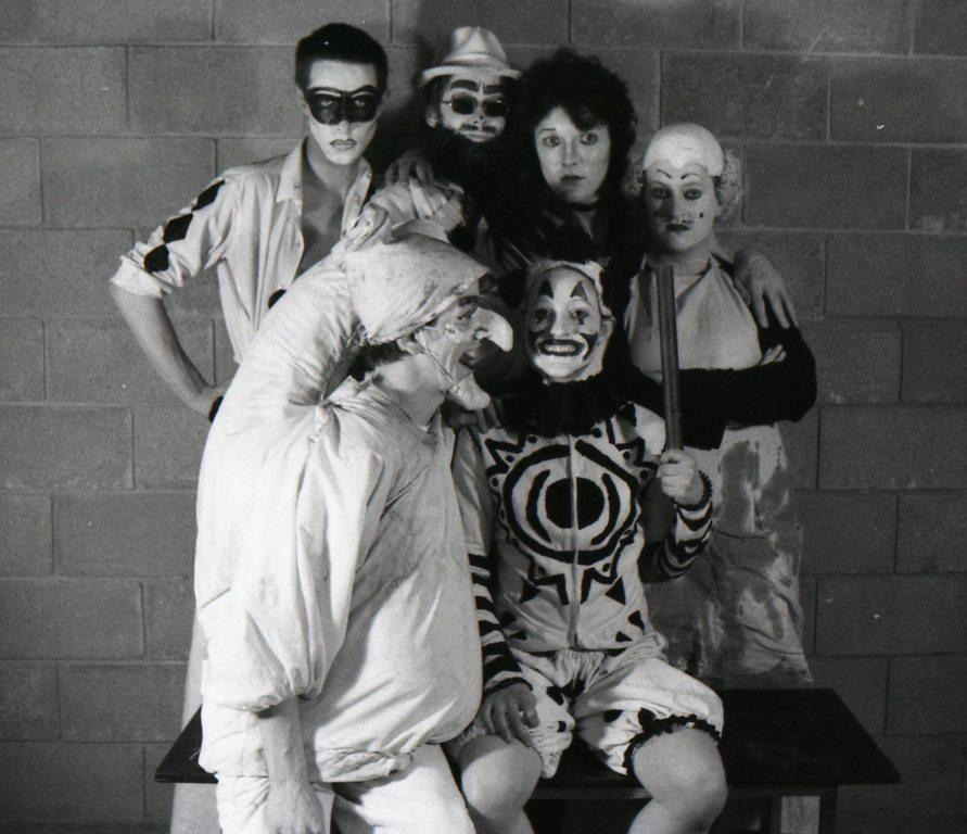 Backstage at  A Clowns' Sodom , 1976. Back row: Clive Barker, Doug Bradley, Peter Atkins, Julie Blake. Front row: Philip Rimmer, Lynne Darnell.