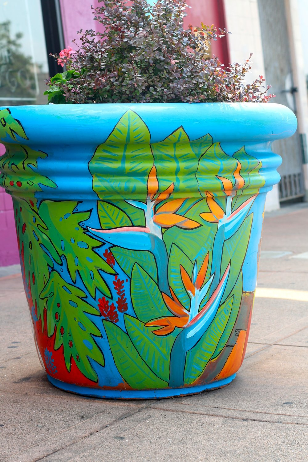 Alise and Jack collaborative planter mural project sponsored by the Laurel District Association, Oakland, CA, 2017