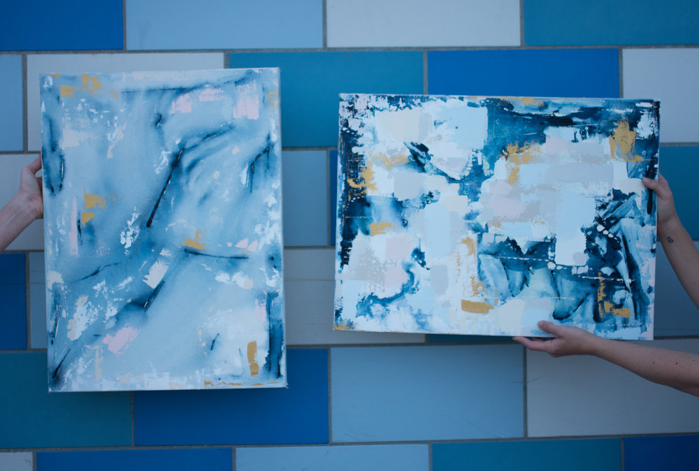 """Abstract Artist Samantha Louise Designs """"Deep Blue Something"""" 