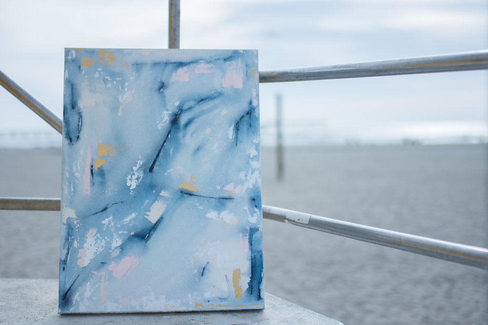 "Abstract Artist Samantha Louise Designs ""Deep Blue Something"" 