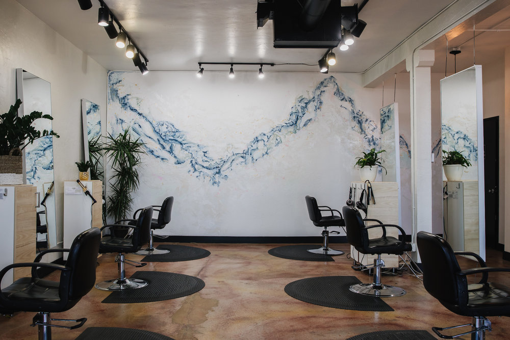 Abstract watercolor mural at   Hair Drezzers on Fire  .    Photo by:     S    tacy Keck