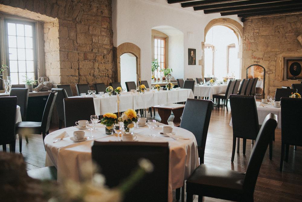Tischdeko der Burg Ravensburg