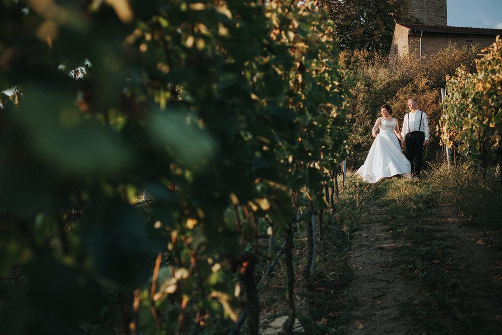 Brautpaar am Ende der Weinstöcke