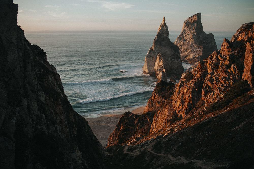 Praia da Ursa during the sunset