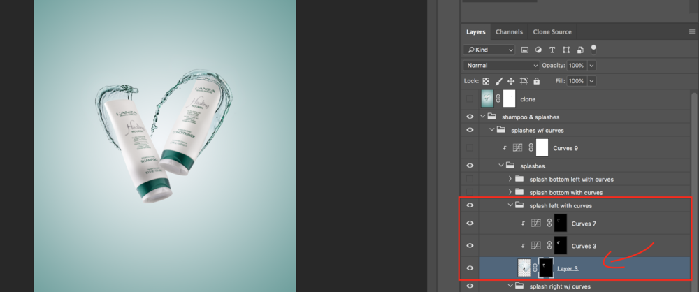 same splash with masking and brushes to clean up unusable parts.