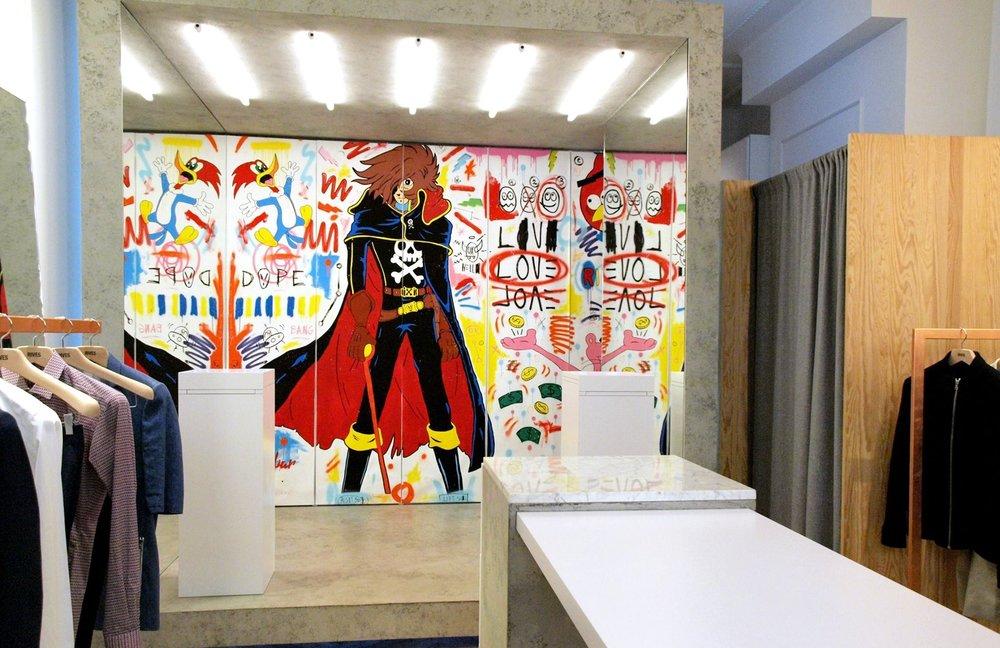 Oeuvre in-situ pour la boutique RIVES Paris 08 -  2016  - 350x300cm -Acrylique, bombe sur toile