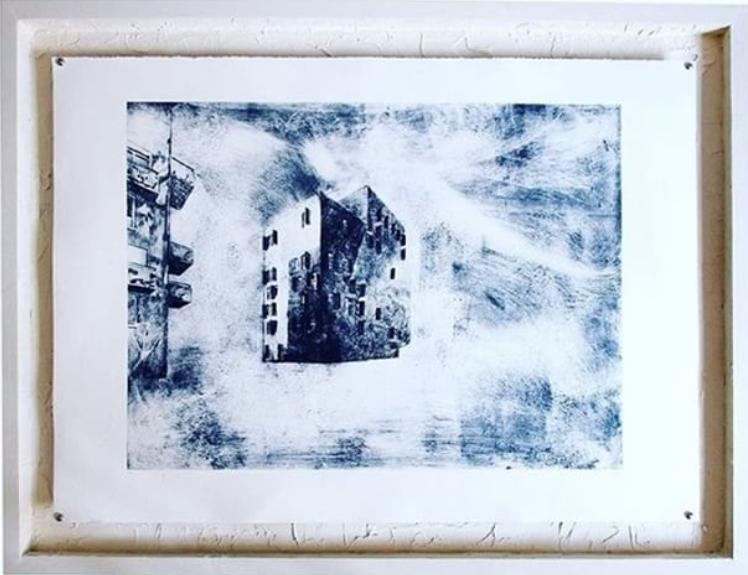 2050Gravures sur papier - Cadre bois et plâtre 76 X 106 cm