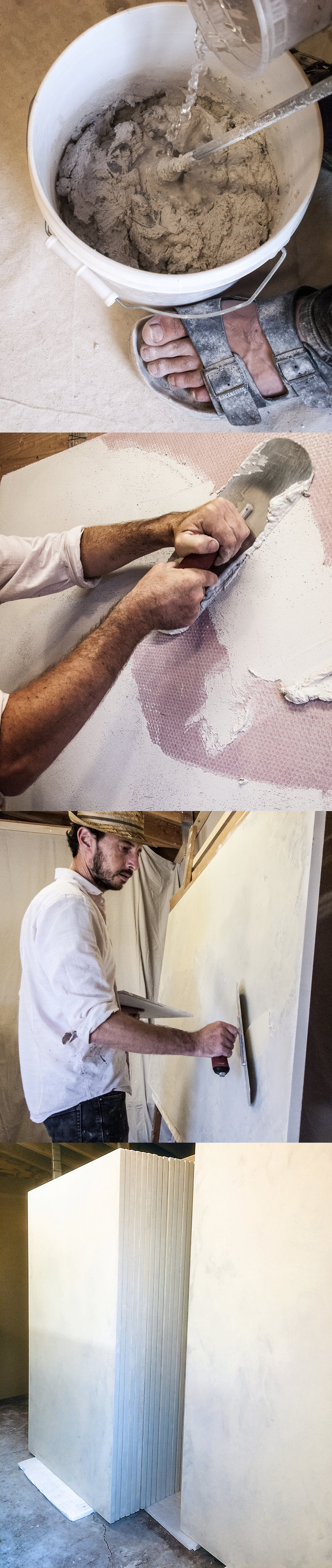 (Traditional lime-based plastering process).