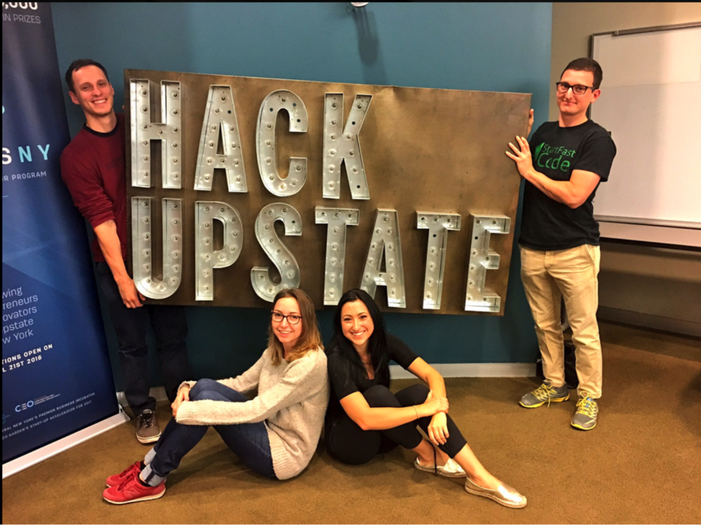 StartFast Coders Dan Delluomo, Kseniya Hogan, Zoe Kouloris and Ethan Suttner at Hack Upstate
