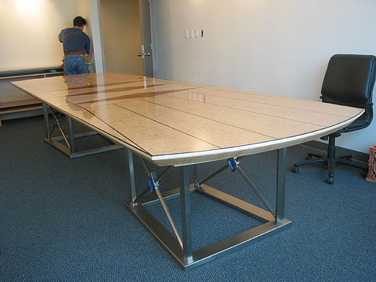 Quilted Maple & Steel Boardroom table
