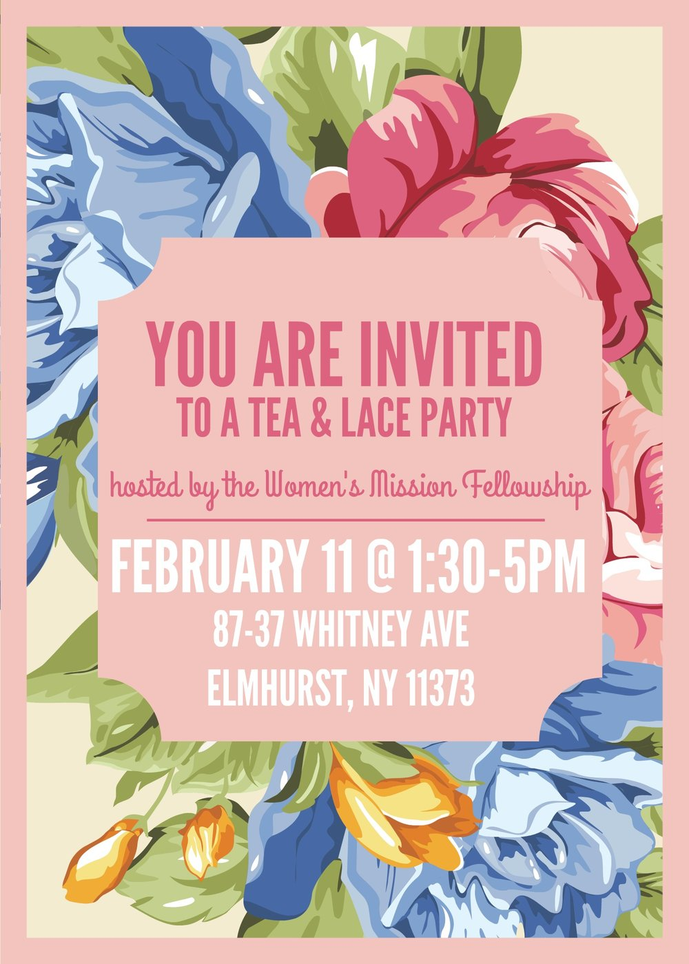 Please join the Women's Mission Fellowship for a spot of Tea, Fellowship, Fun & Games, Cookie craft and light snacks on Saturday, February 11, 2017 from 1:30 - 5:00 PM.  Wear Floral or Lace and look your shabby chic best! Also bring a tea cup and your favorite tea to exchange!