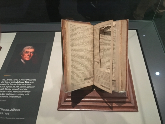 New Testament with passages Thomas Jefferson cut out with his penknife