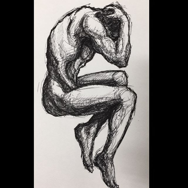 It's no #artbasel piece but I really like this one. I did this one in a lecture class few weeks back. #pen #sketch #lifedrawing #artwork #drawing #toronto