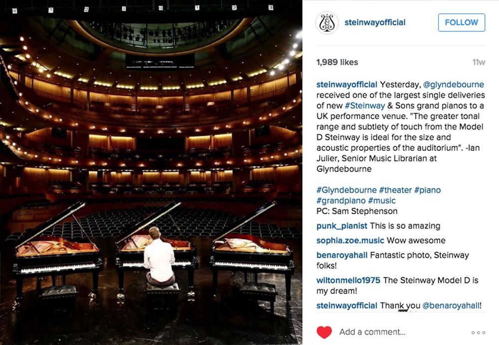 Steinway Instagram, 1,989 likes.