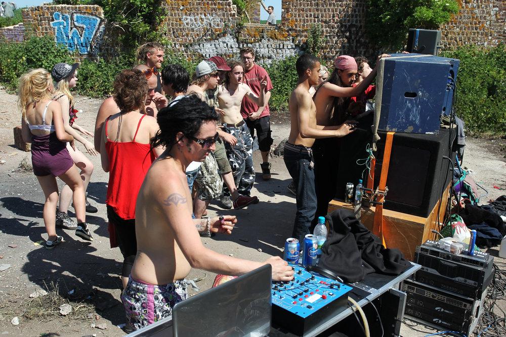 Illegal rave, Brighton.