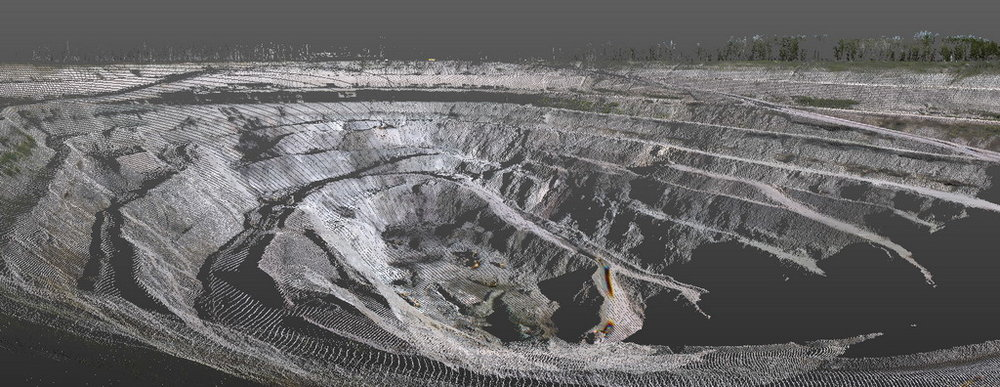 Laser scanning of a copper ore quarry in the Middle Urals, Russia. This image is a point cloud of the open cast. Image by Trimetari Consulting.