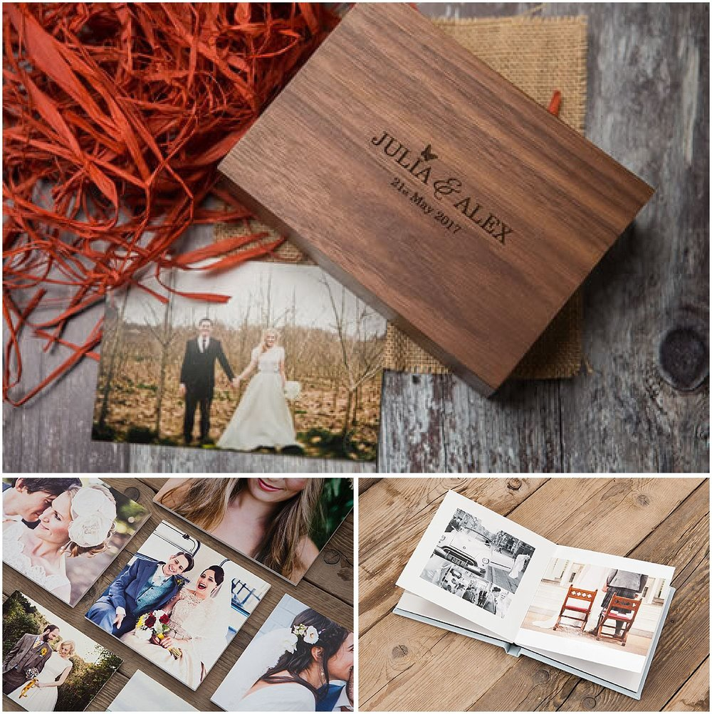 ALBUMS & PRINTS - Both my full day packages include a number of prints in a pretty personalised presentation box, like the one in the photo on the left. I also offer beautiful bespoke albums.8x8 inch album with 30 pages: £350.10x10 inch album with 30 pages: £450.Extra pages: £10 per page.You'll also be able to order standard and fine art prints from a professional photo lab via your gallery (and you can of course print your own too).