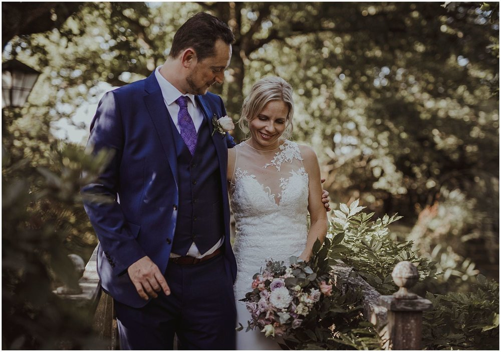 Bride and groom at Smallfield Place Surrey