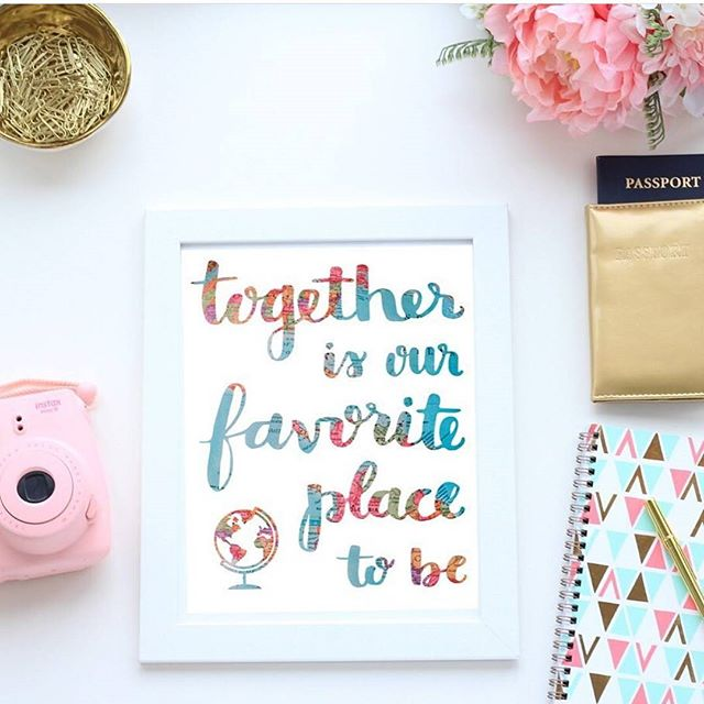 Together is our favorite place to be. 💕 I love the colorful globe background behind my lettering in this print. It makes me smile every time I look at it! It's a great gift for a travel-loving couple or friends or an adoptive family! Shop link in profile ✨