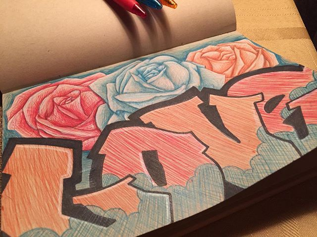 Sunday night artwork. #blessed #btldsketchbook #boutthatjesuslife #inkpenart #inking #draw #paint #art #arte #create #sketchbook #sketch #btldroses #roses #flowers #graffitiart #btldgraffiti