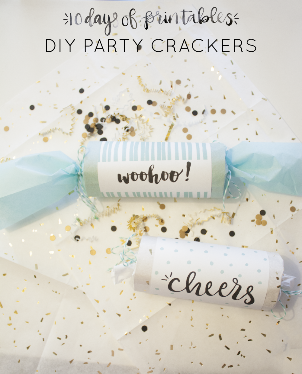 "Get the party started with these DIY party poppers! Learn how to make your own and download the free printable covers to add a ""cheers"" or ""woohoo"" message to each cracker. Fill these with confetti, candy, and other small treats."