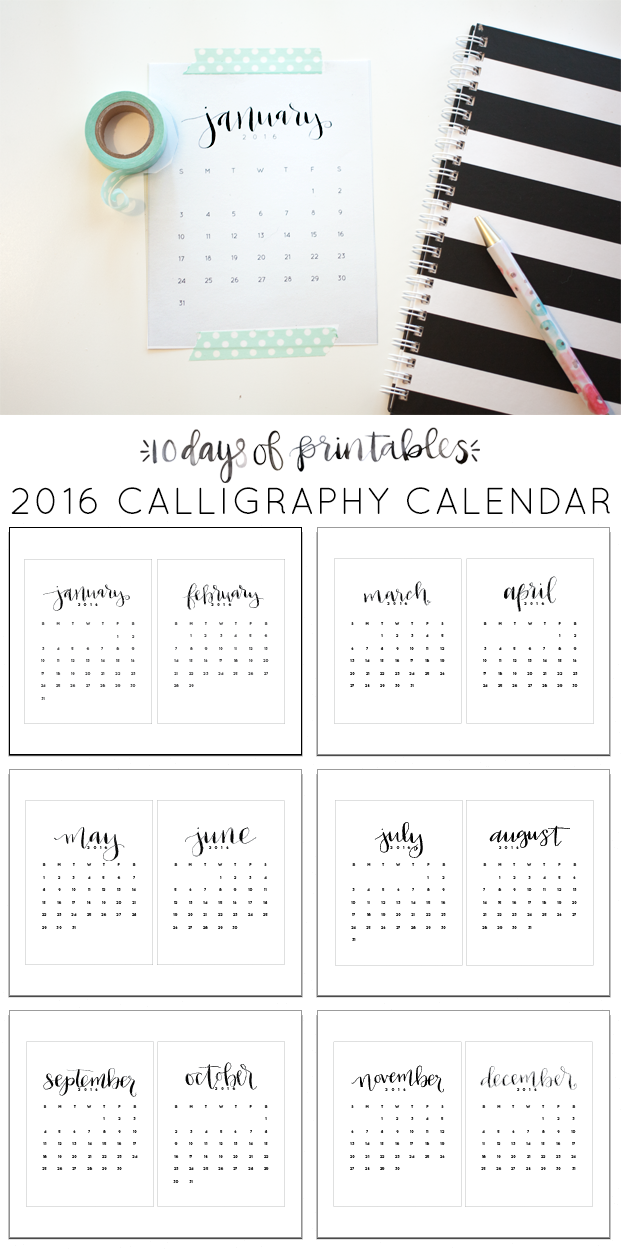 Start your new year off right with this free printable calligraphy calendar from @heylovedesigns. Tape it up with washi tape or add it to a mini clipboard. This minimalist design will go with anything!