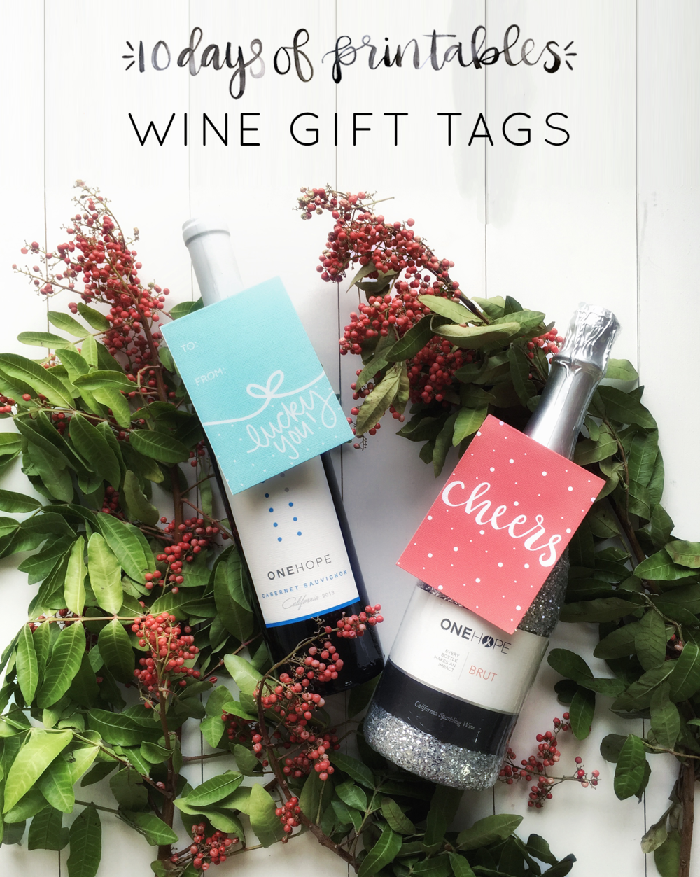 Bring your hostess with the mostess the gift of wine with these cute and festive holiday gift tags. Simply print, cut out, and place over the neck of a bottle of wine, beer, or even a nice bottle of olive oil for a simple gift for your host. Printable available at Hey Love Designs.