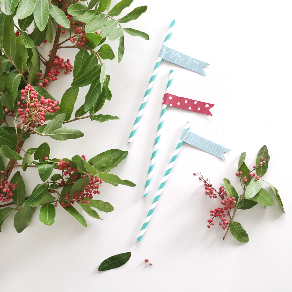 These party flags are fun for your holiday celebration! Add them to straws, skewers, lollipop sticks, or strings for a fun addition to any holiday party. Part of the 10 Days of Printables series from Hey Love Designs.