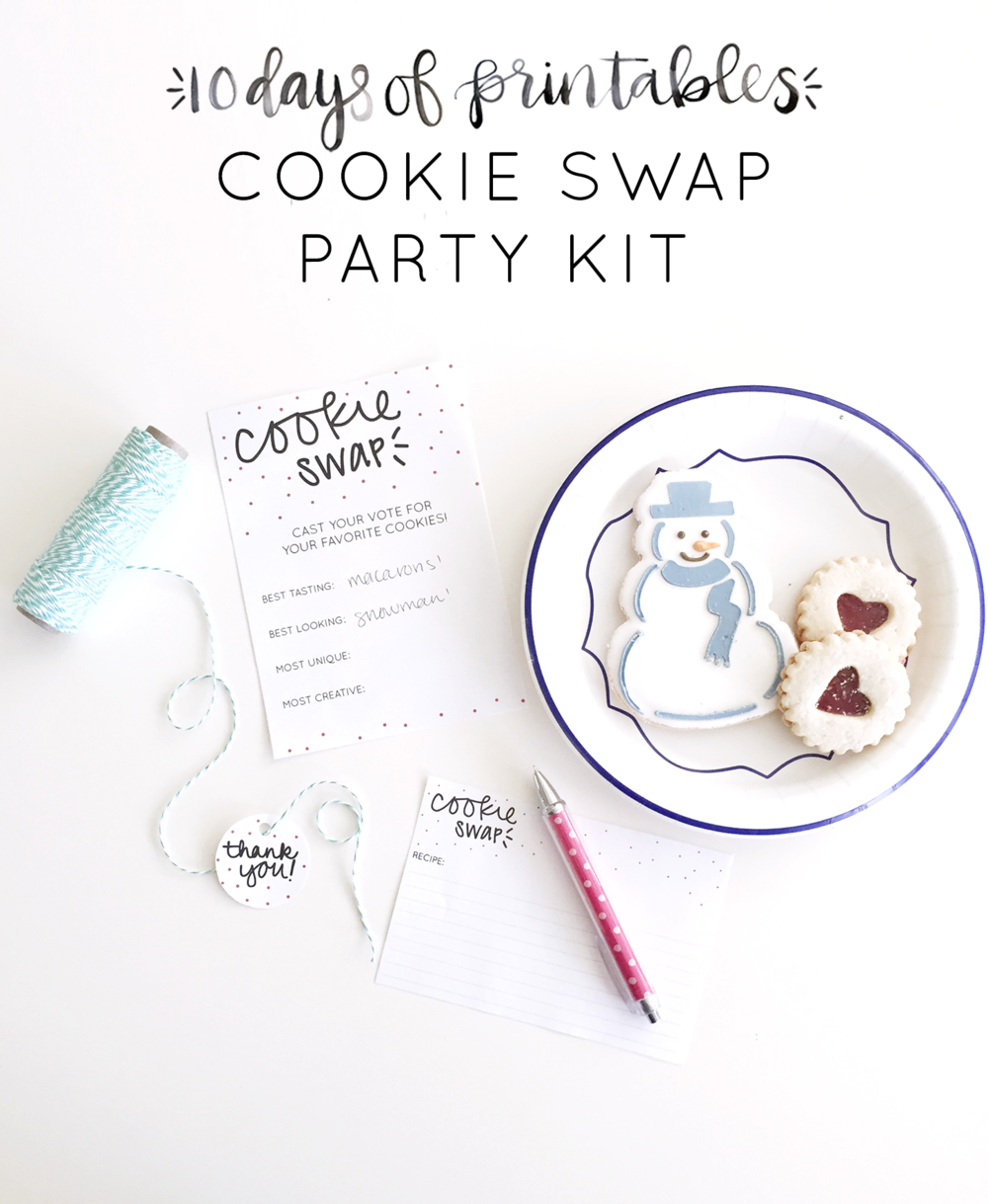 Hosting a cookie exchange? You're going to want to print the contents of this cookie swap kit that includes ballot cards for voting for your favorite cookie, thank you tags to box up everyone's favorite cookies, and recipe cards to share recipes! Get these and other fun holiday printables from Hey Love Designs' 10 Days of Printables!