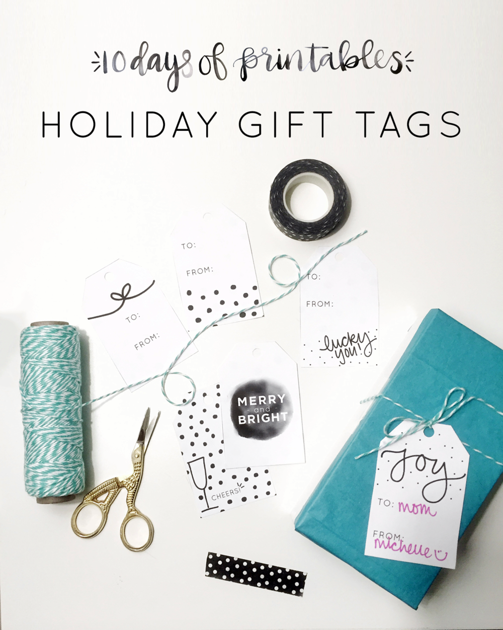 Give your holiday gifts an extra ooomph with these fun black and white graphic printables for day 2 of @heylovedesigns' 10 Days of Printables!