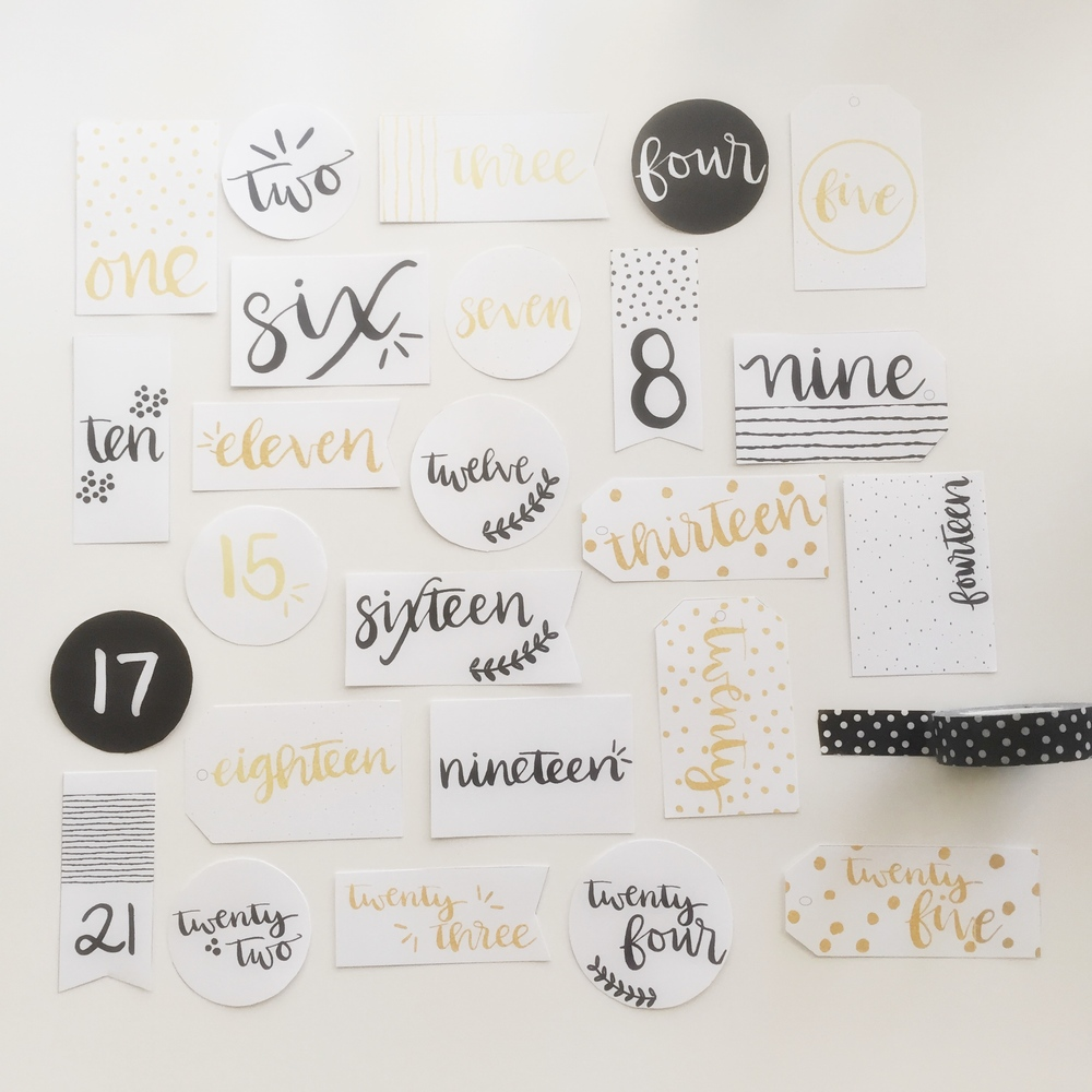 Celebrate Christmas with a mini gift a day! These calligraphy advent tags will help you count down to Christmas with fun little gifts! This printable comes in gold and black. http://www.heylovedesigns.com/2015/11/30/holiday-advent-tags @heylovedesigns