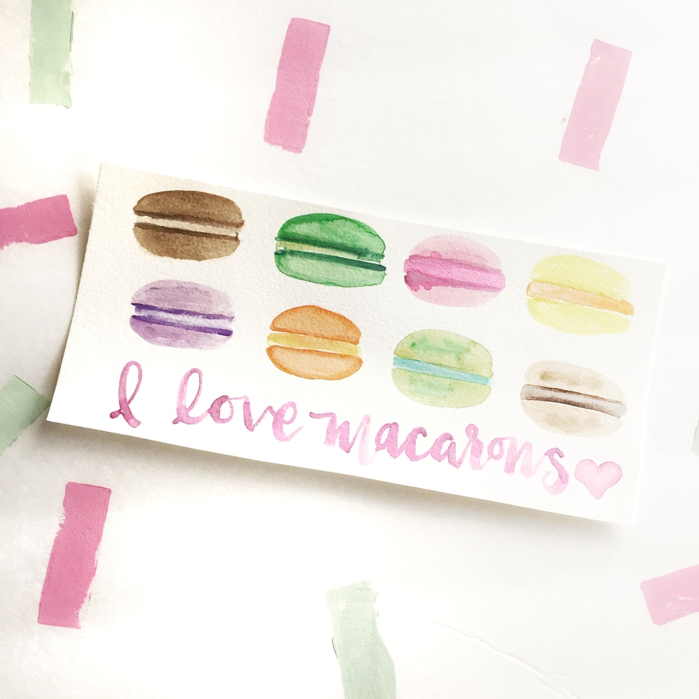 Watercolor Macarons painted by Hey Love Designs