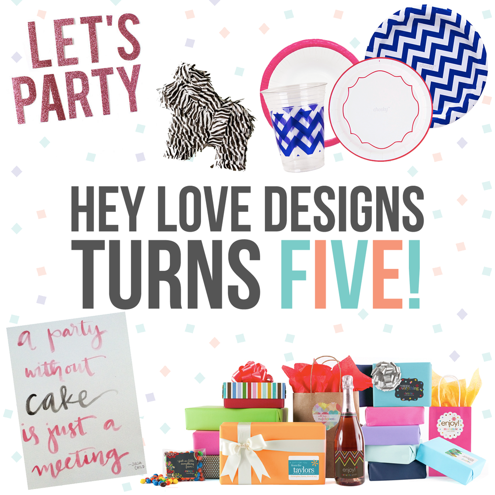 Hey Love Designs is turning 5! Enter this giveaway for a party in a box. | Hey Love Designs