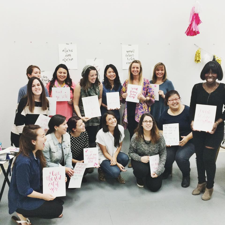 Watercolor Calligraphy Workshop with A Fabulous Fete at Great Over Good | Hey Love Designs