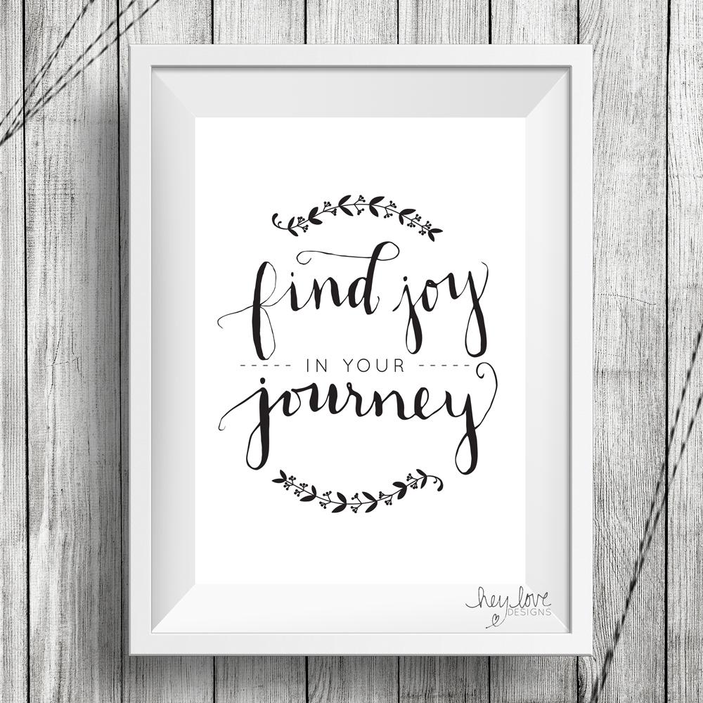 Find Joy in Your Journey - Handwritten Calligraphy Print on Etsy | Hey Love Designs