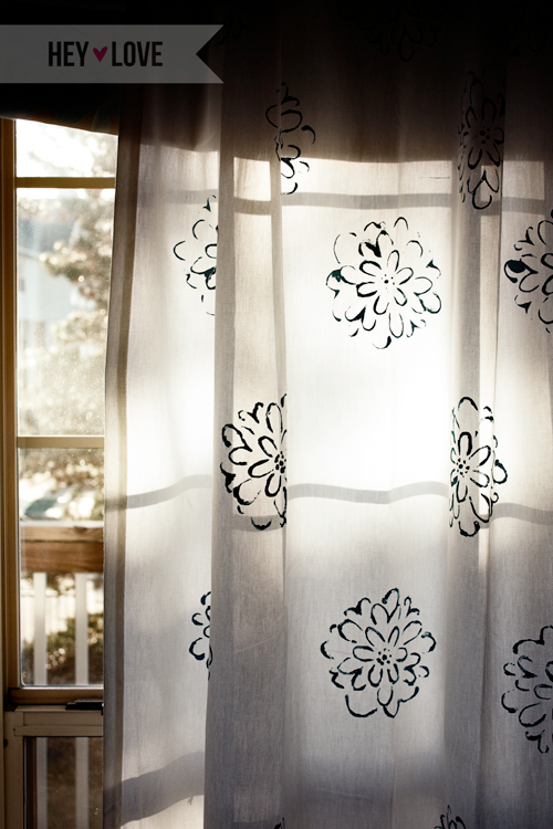 Make your own curtains with custom stencils! Decorate your home your way with this tutorial on stenciled curtains. | Hey Love Designs