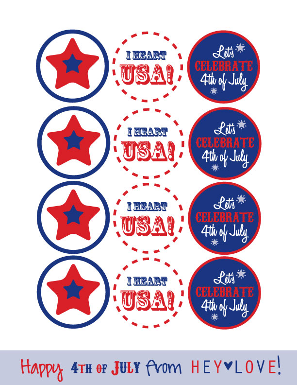 Happy Fourth of July from hey Love Designs! Print these out as tags, flags, or stickers for your Independence Day celebration.