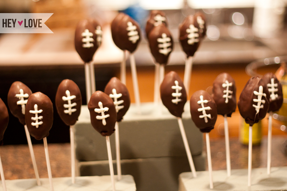 Football cake pops. | Hey Love Designs