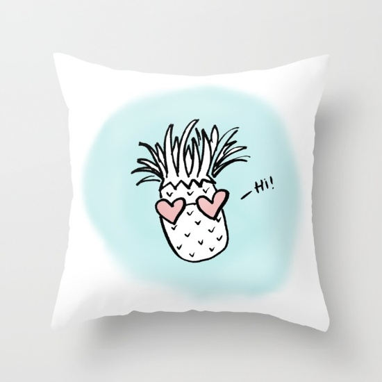 Buy this Pineapple Hearts pillow from Hey Love Designs on Society6