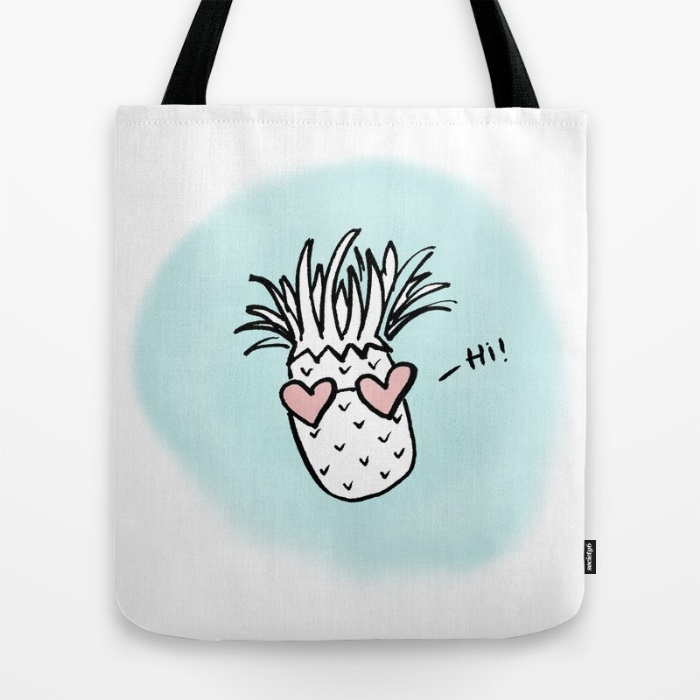 Buy this Pineapple Hearts tote from Hey Love Designs on Society6