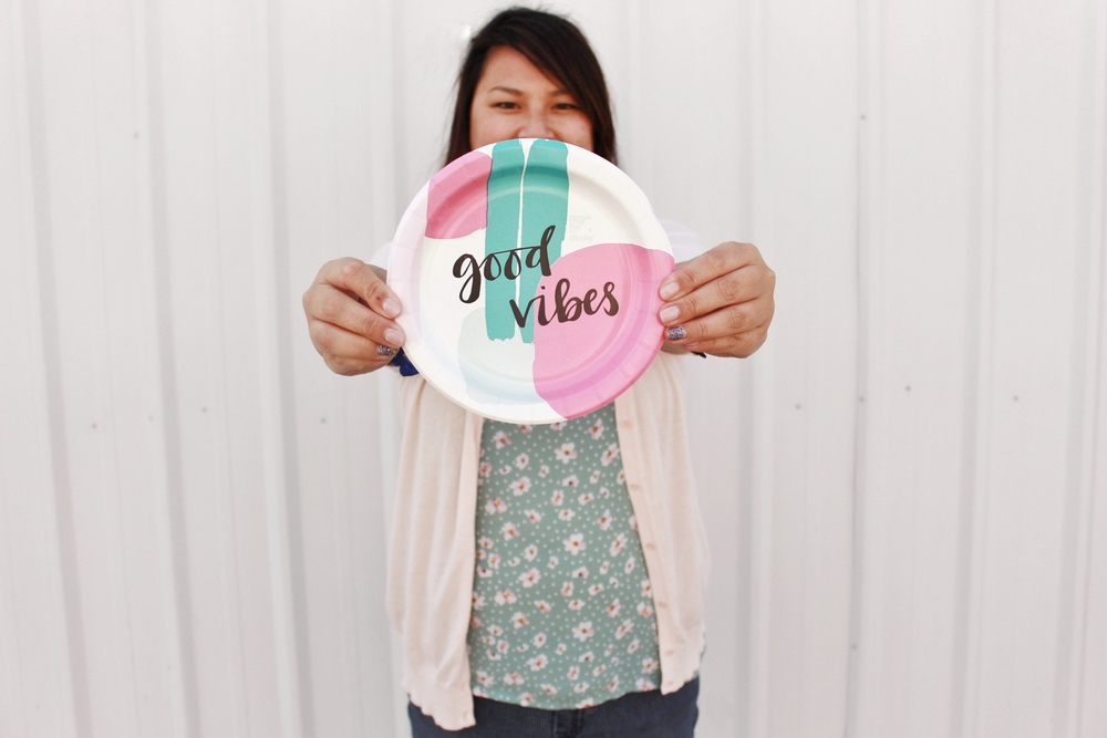 """Good Vibes"" designlovefest for Cheeky plate"