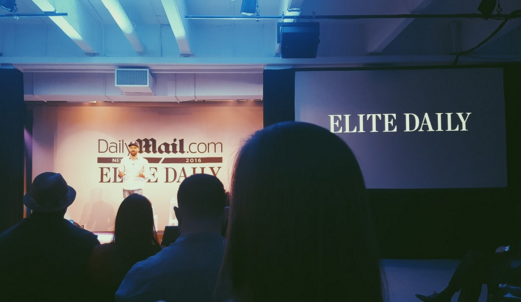 Miguel Burger-Calderon — Elite Daily President, During Interactive Video Portion of Elite Daily and Dailymail.com Newfront 2016 (May 12, 2016)