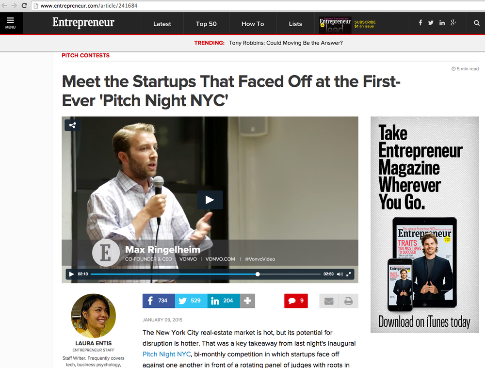 Featured in Entrepreneur Magazine for Placing 3rd in Techstars Pitch Competition at AlleyNYC