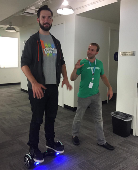 Showing Alexis Ohanian How To Ride The Flow Wheel At Reddit HQ